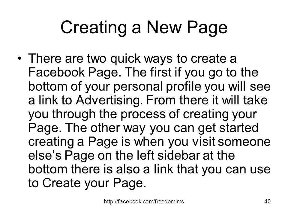 Creating a New Page
