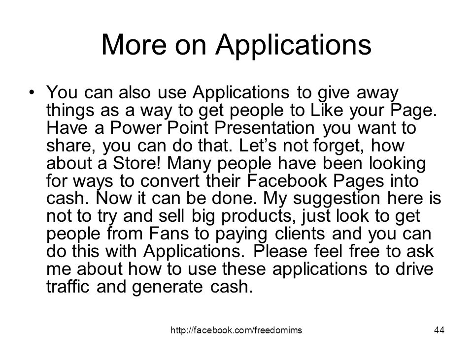 More on Applications