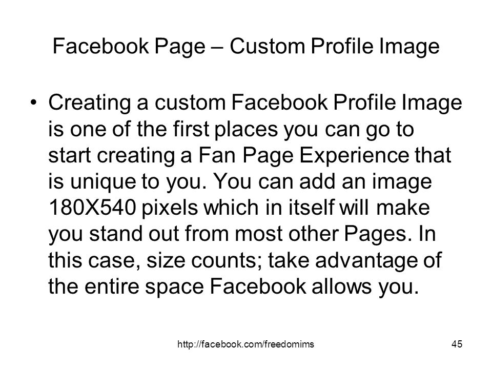 Facebook Page – Custom Profile Image