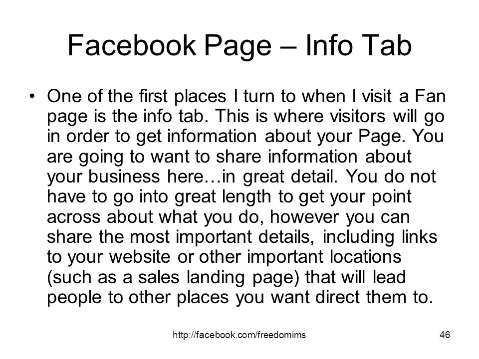 Facebook Page – Info Tab