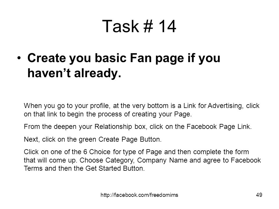 Task # 14 Create you basic Fan page if you haven't already.