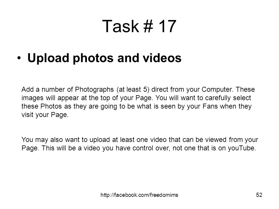 Task # 17 Upload photos and videos