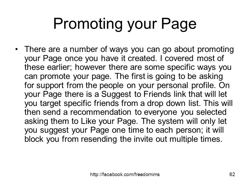 Promoting your Page