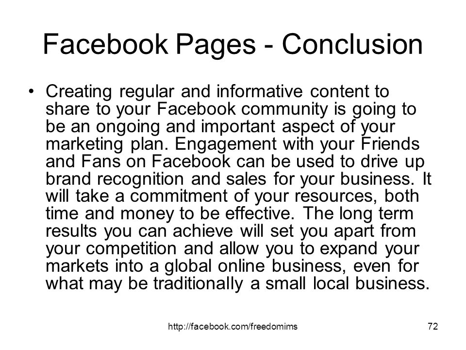 Facebook Pages - Conclusion