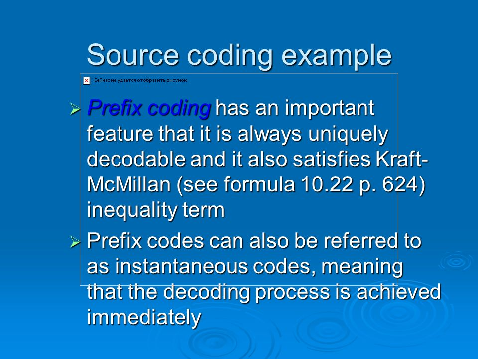 Source coding example