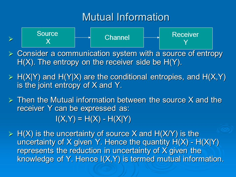 Mutual Information Source. X. Channel. Receiver. Y.