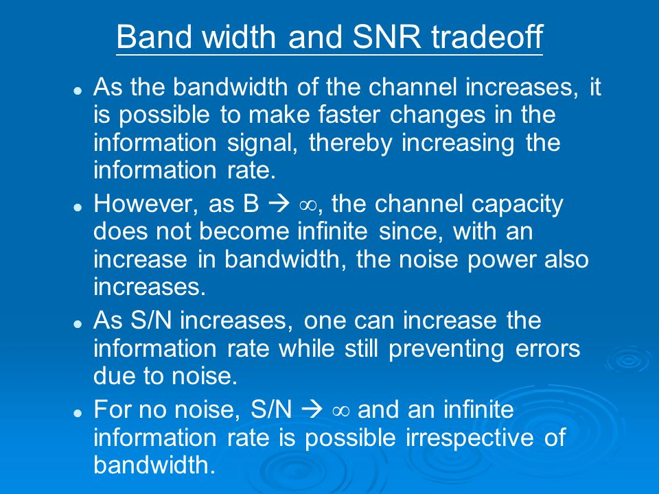 Band width and SNR tradeoff