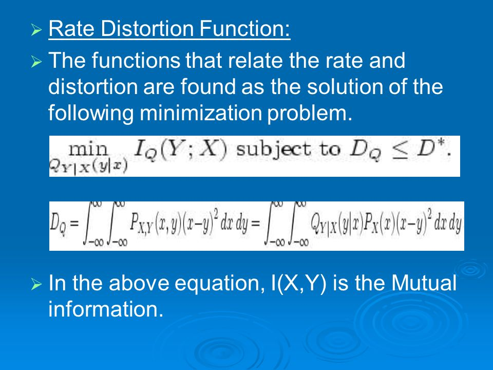 Rate Distortion Function: