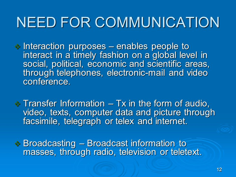 NEED FOR COMMUNICATION