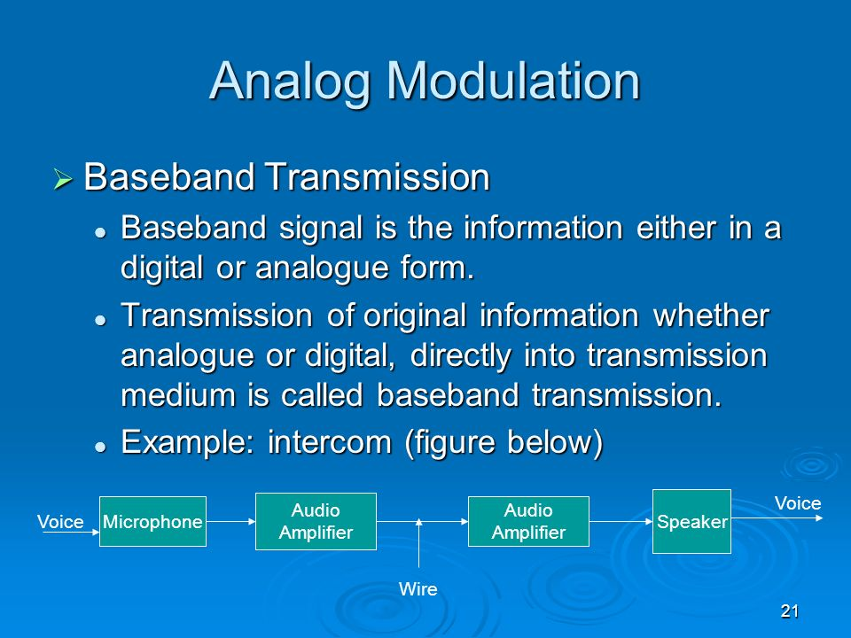 Analog Modulation Baseband Transmission