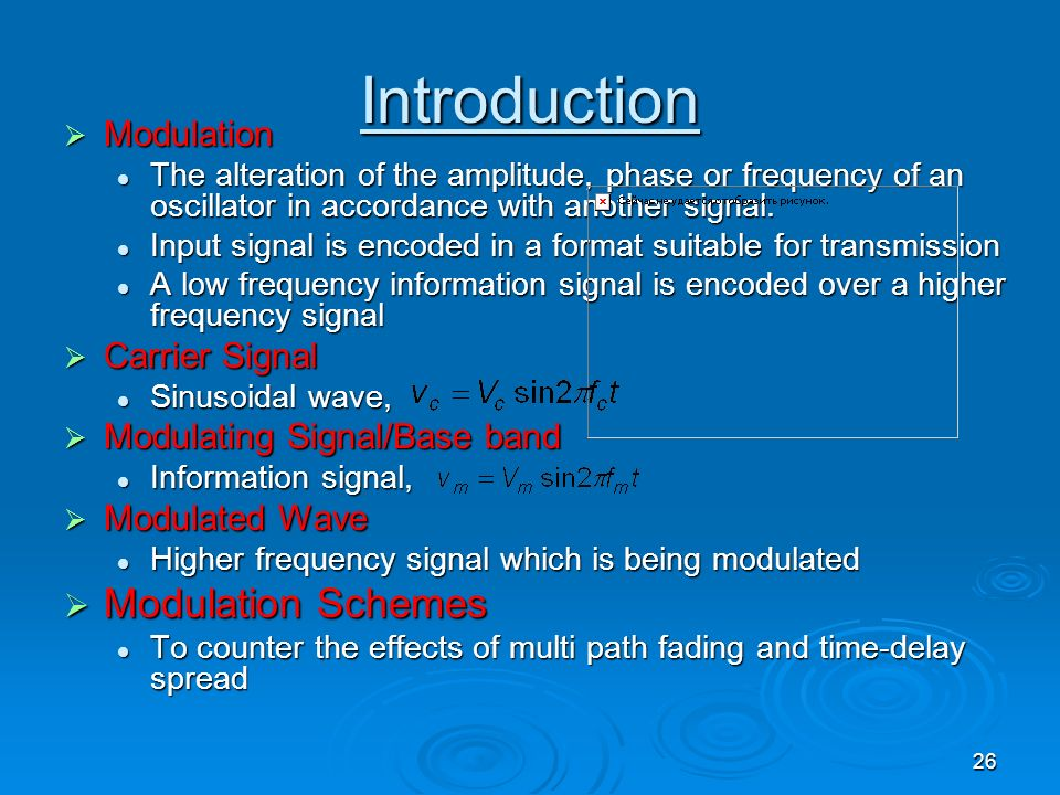 Introduction Modulation Schemes Modulation Carrier Signal