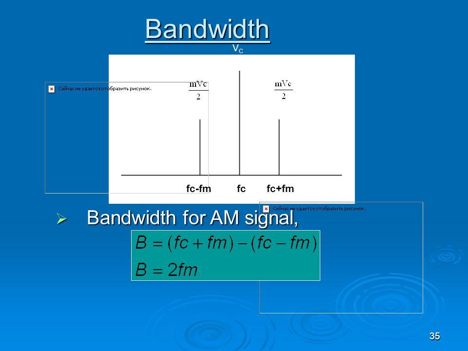 Bandwidth VC Bandwidth for AM signal, fc-fm fc fc+fm