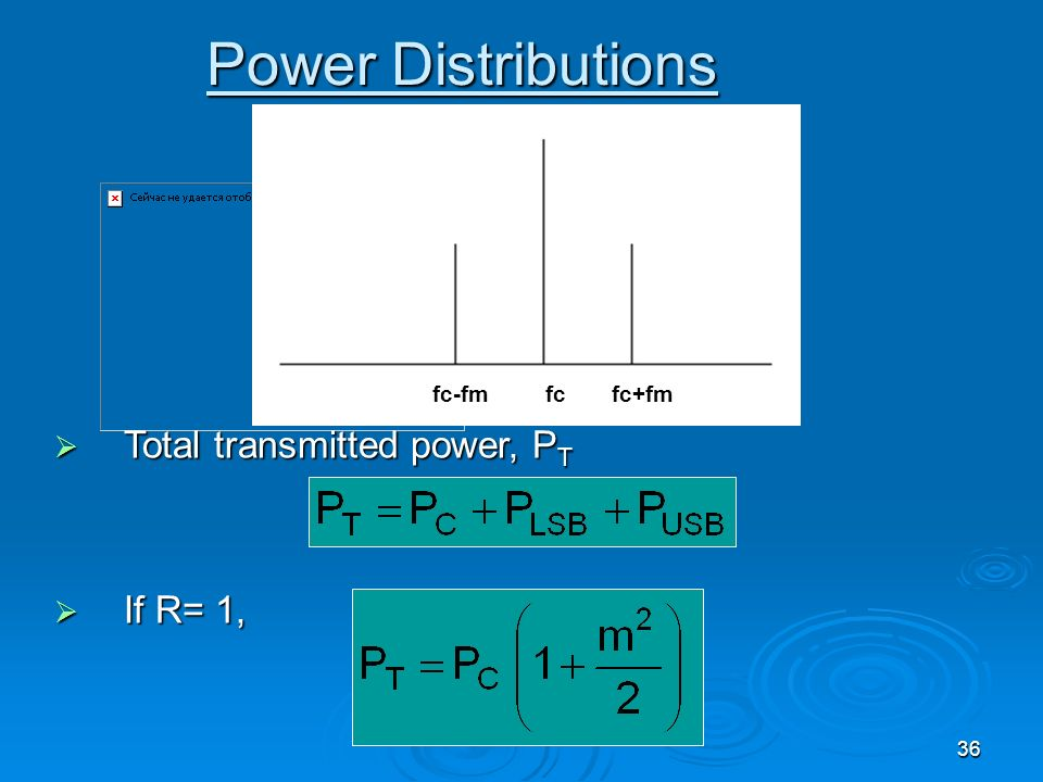 Power Distributions Total transmitted power, PT If R= 1, fc-fm fc