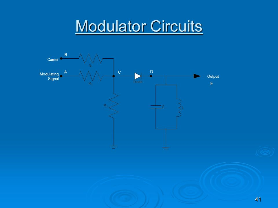 Modulator Circuits Modulating Signal Output Carrier A B C D E