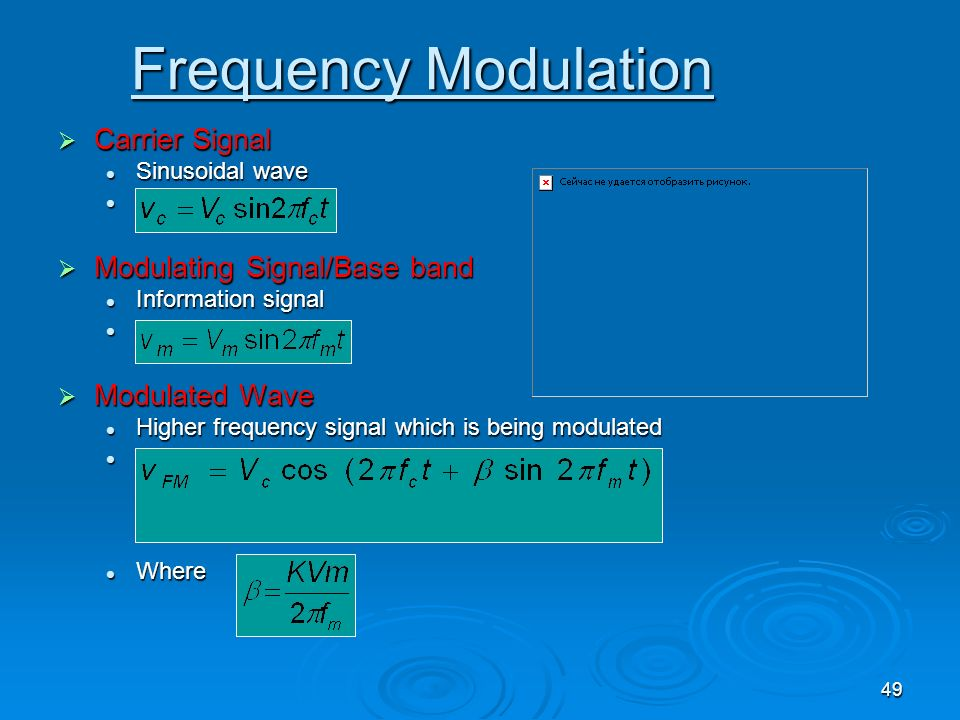 Frequency Modulation Carrier Signal Modulating Signal/Base band