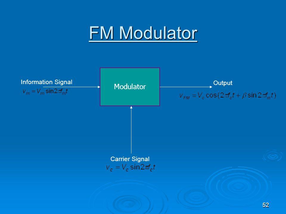 FM Modulator Modulator Information Signal Output Carrier Signal
