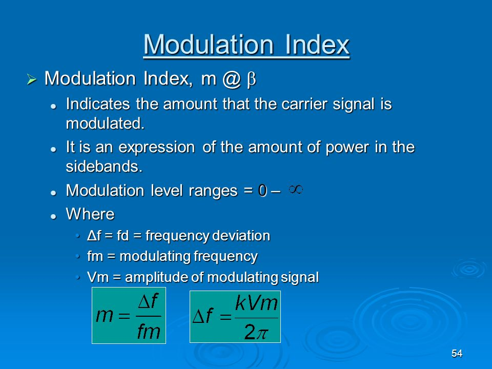 Modulation Index Modulation Index, m @ β