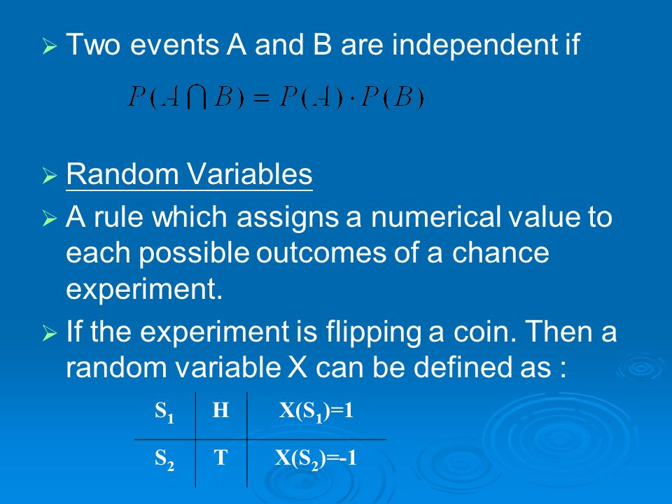 Two events A and B are independent if