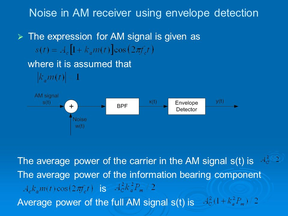 Noise in AM receiver using envelope detection