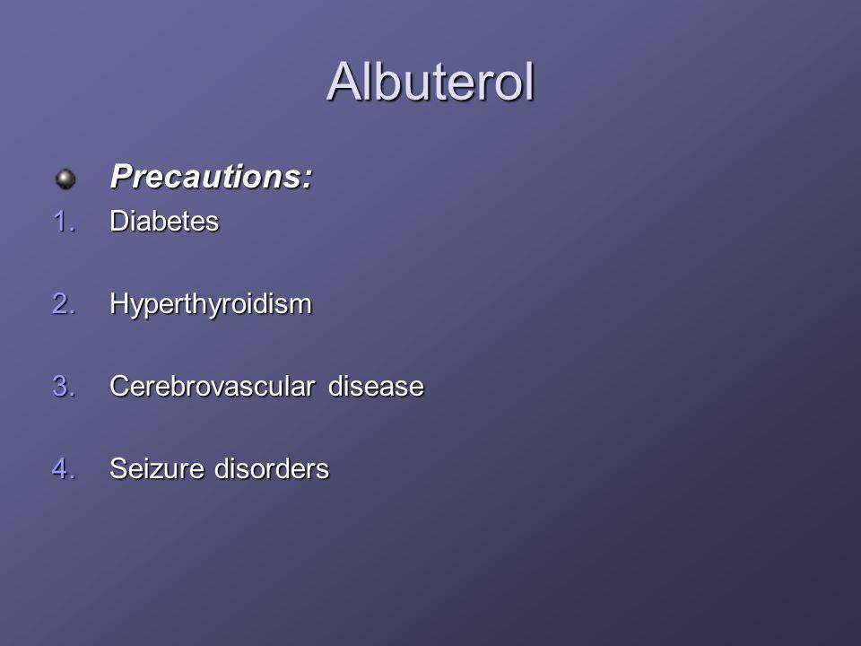 Albuterol Precautions: Diabetes Hyperthyroidism