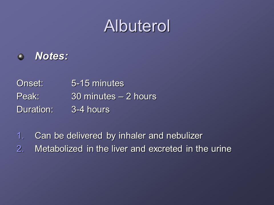Albuterol Notes: Onset: 5-15 minutes Peak: 30 minutes – 2 hours