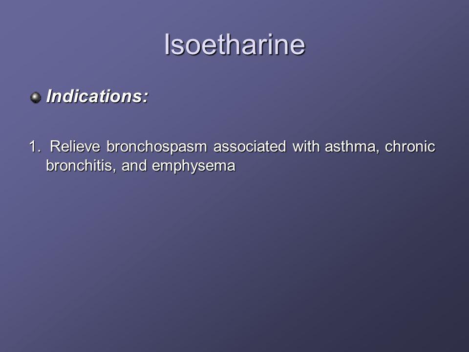 Isoetharine Indications: