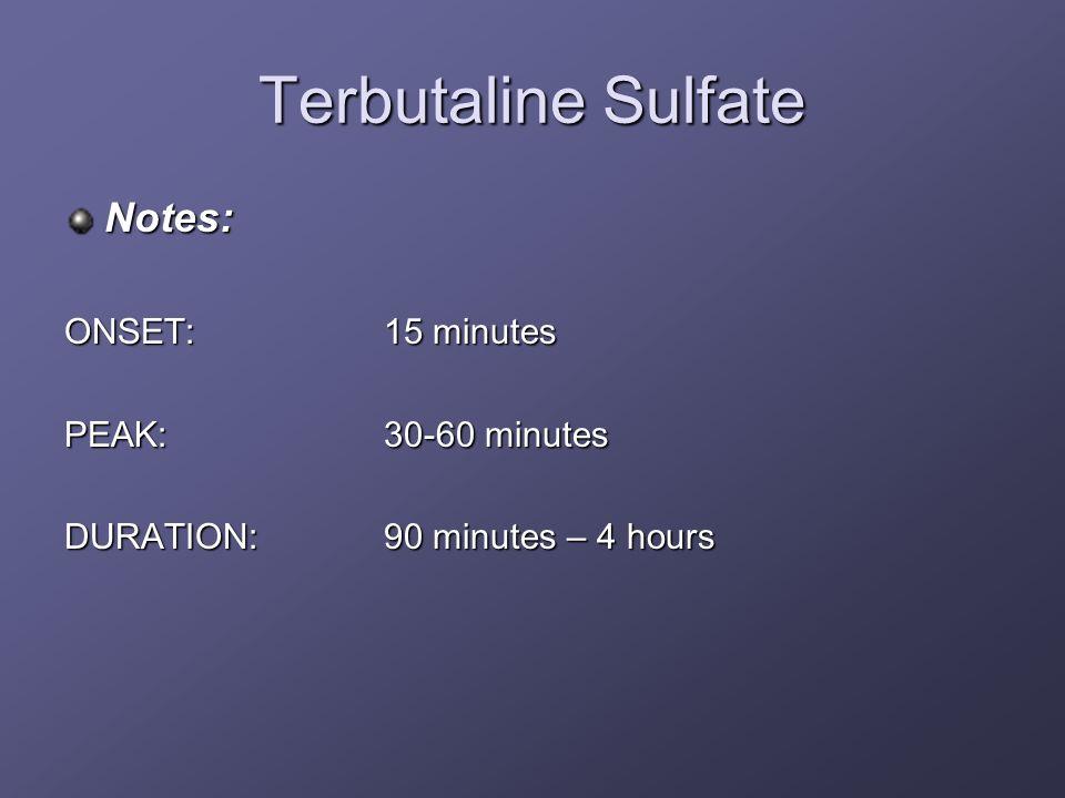 Terbutaline Sulfate Notes: ONSET: 15 minutes PEAK: 30-60 minutes