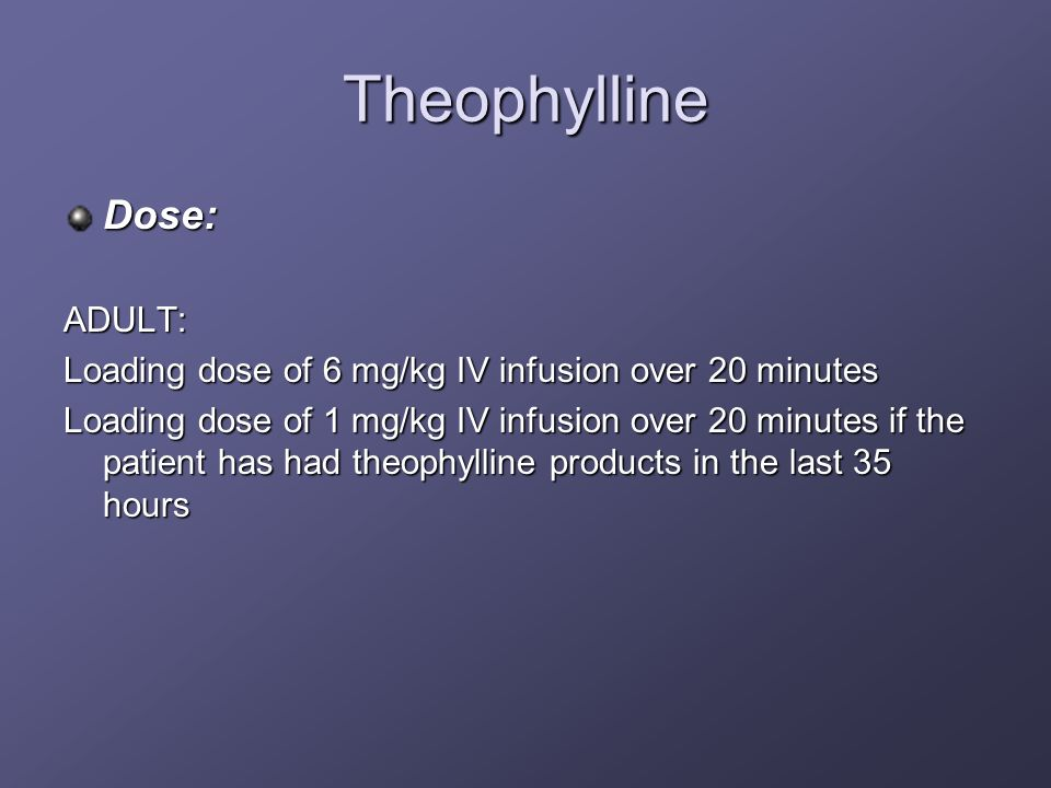 Theophylline Dose: ADULT: