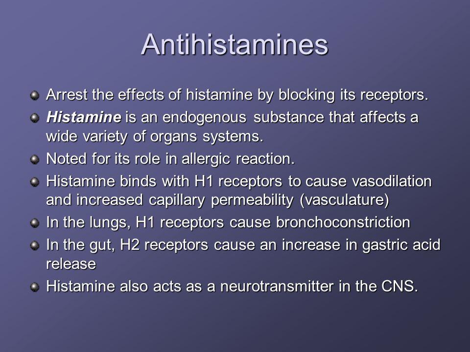 AntihistaminesArrest the effects of histamine by blocking its receptors.