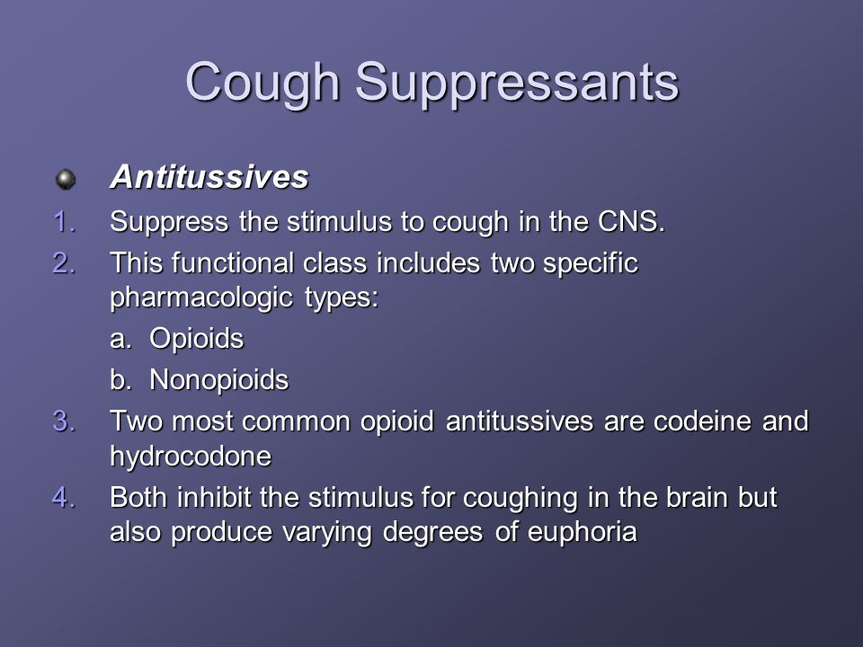 Cough Suppressants Antitussives