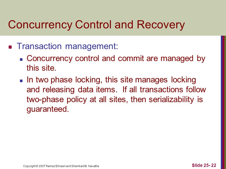 Concurrency Control and Recovery