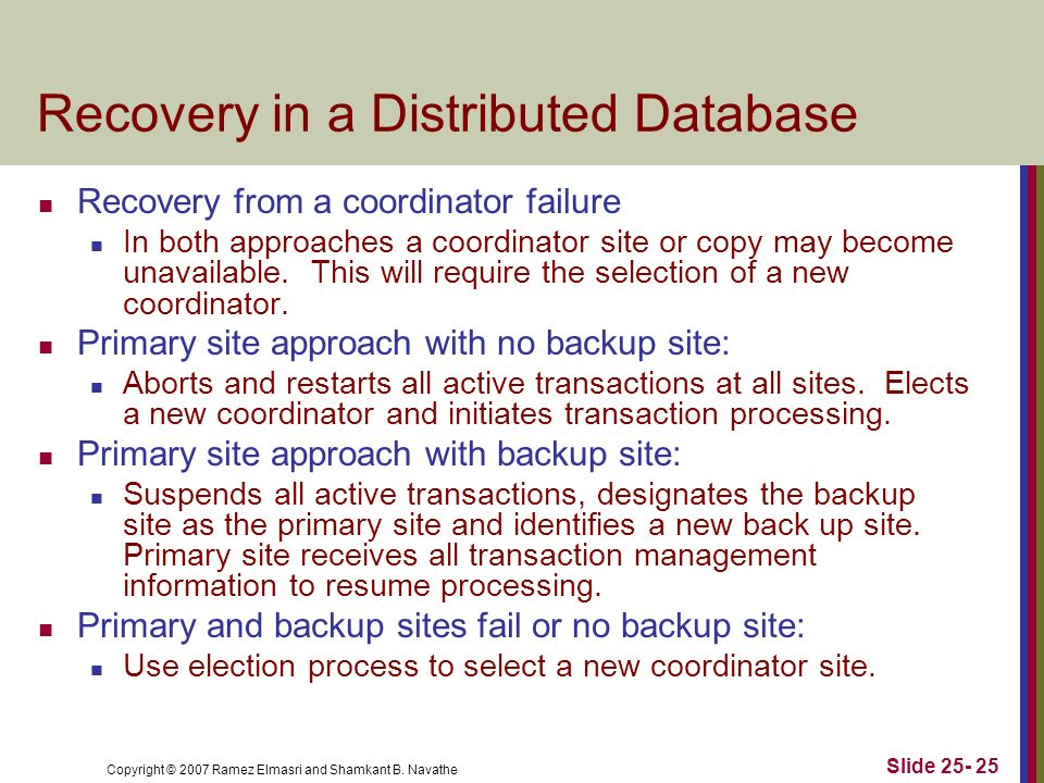 Recovery in a Distributed Database