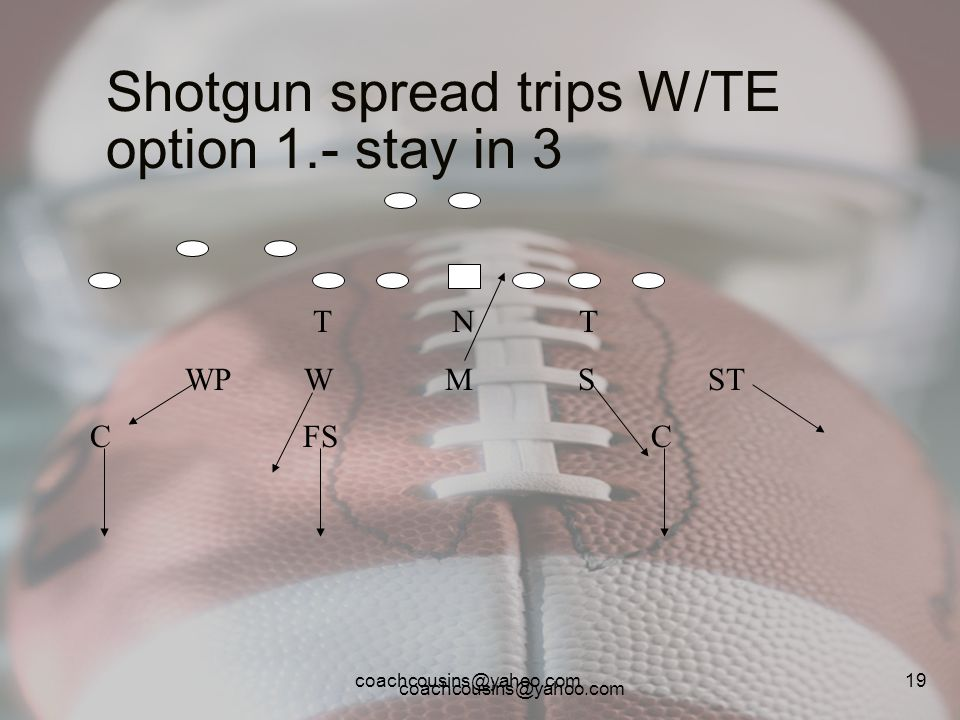 Shotgun spread trips W/TE option 1.- stay in 3