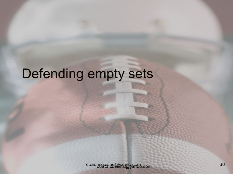 Defending empty sets coachcousins@yahoo.com