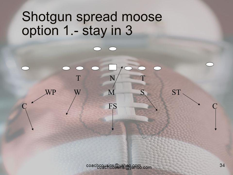 Shotgun spread moose option 1.- stay in 3