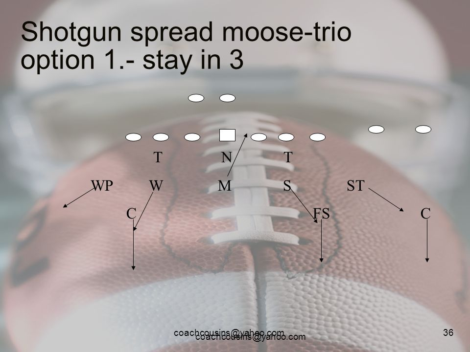 Shotgun spread moose-trio option 1.- stay in 3