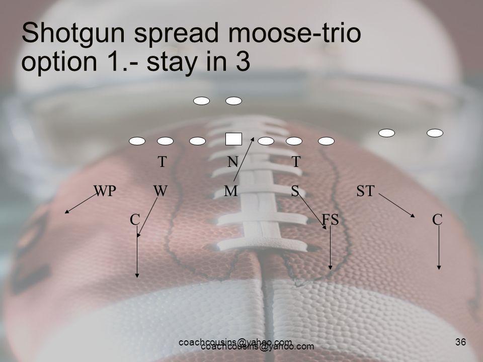 Shotgun spread moose-trio option 1.- stay in 3