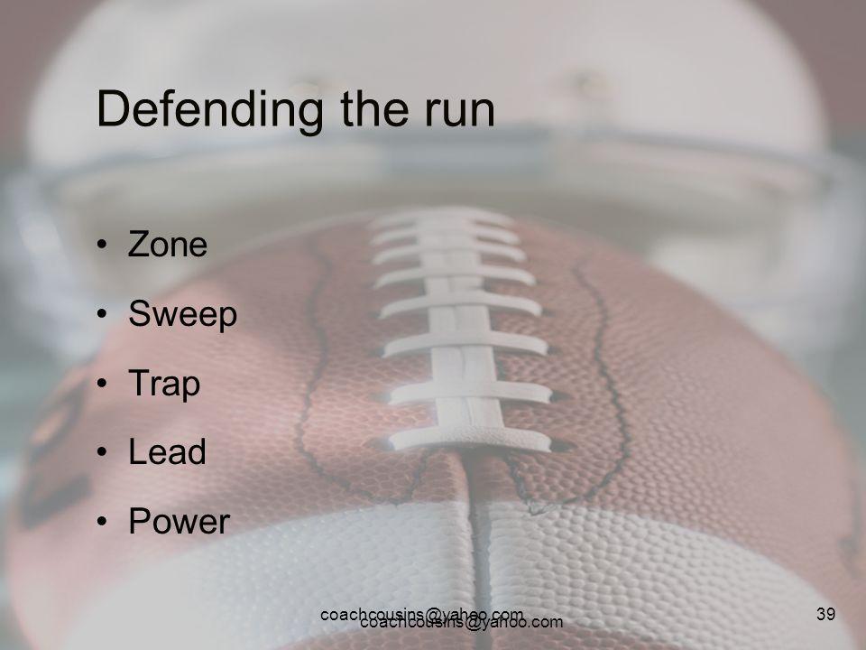 Defending the run Zone Sweep Trap Lead Power coachcousins@yahoo.com