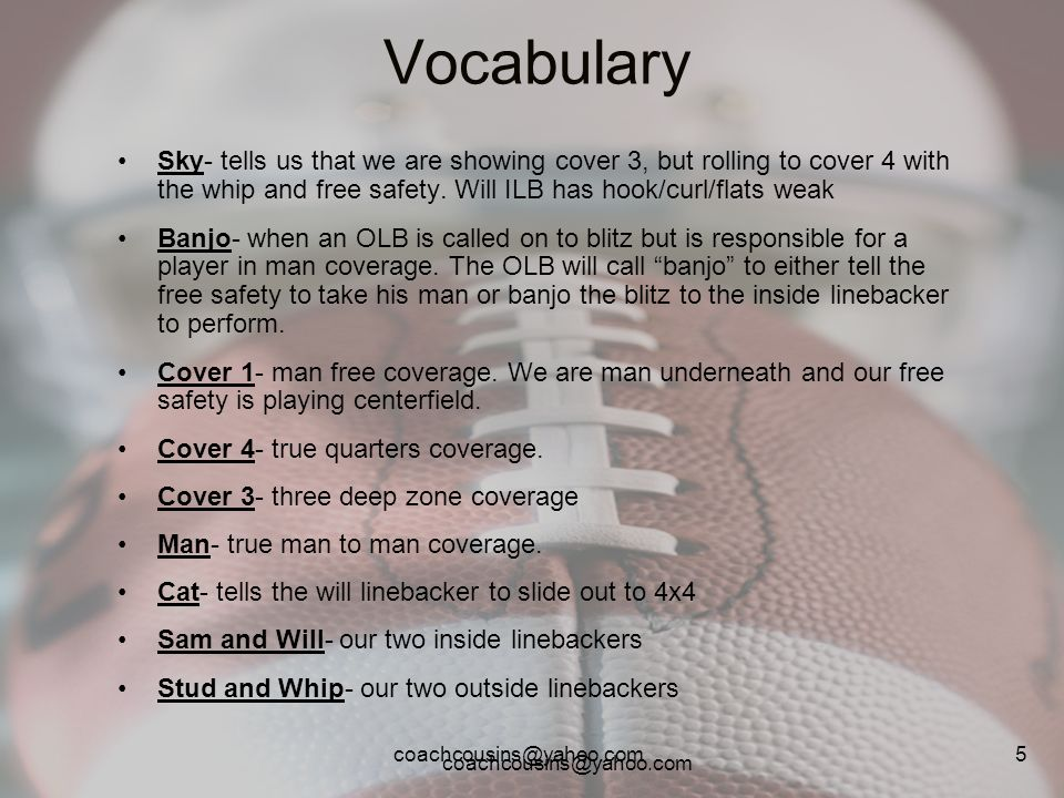 Vocabulary Sky- tells us that we are showing cover 3, but rolling to cover 4 with the whip and free safety. Will ILB has hook/curl/flats weak.