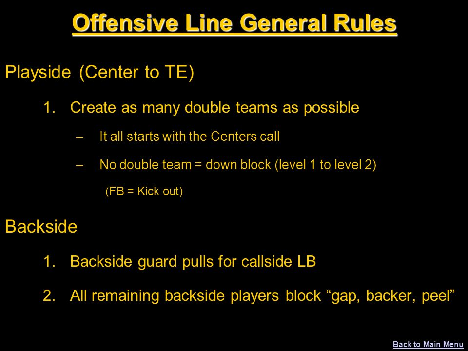 Offensive Line General Rules