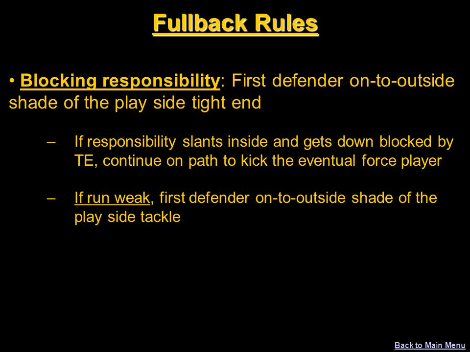 Fullback Rules Blocking responsibility: First defender on-to-outside shade of the play side tight end.