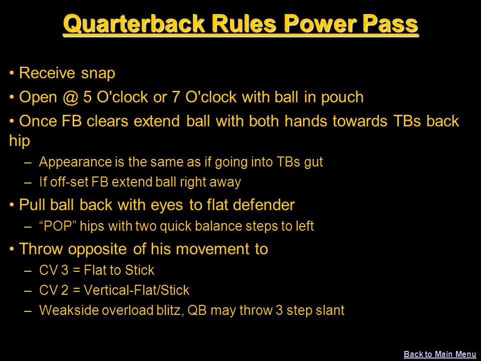 Quarterback Rules Power Pass