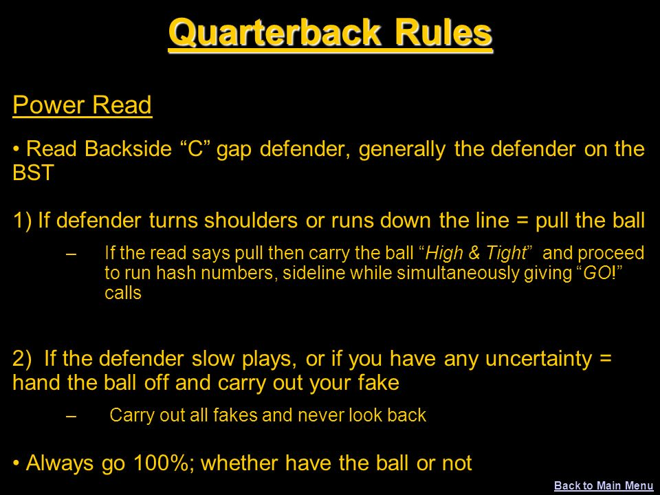 Quarterback Rules Power Read