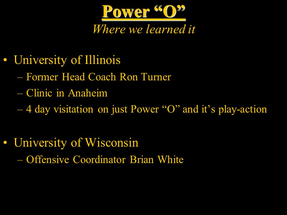 Power O Where we learned it