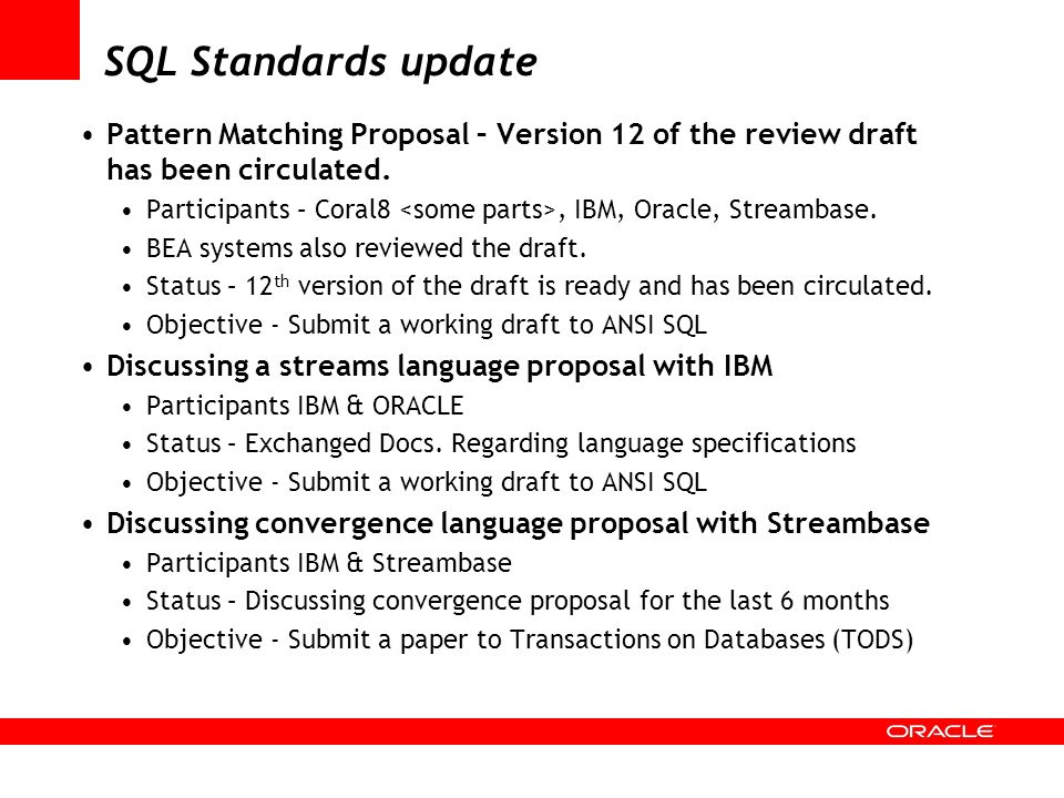 SQL Standards updatePattern Matching Proposal – Version 12 of the review draft has been circulated.