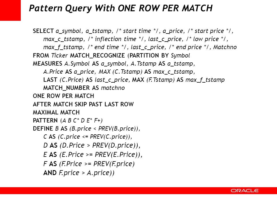 Pattern Query With ONE ROW PER MATCH