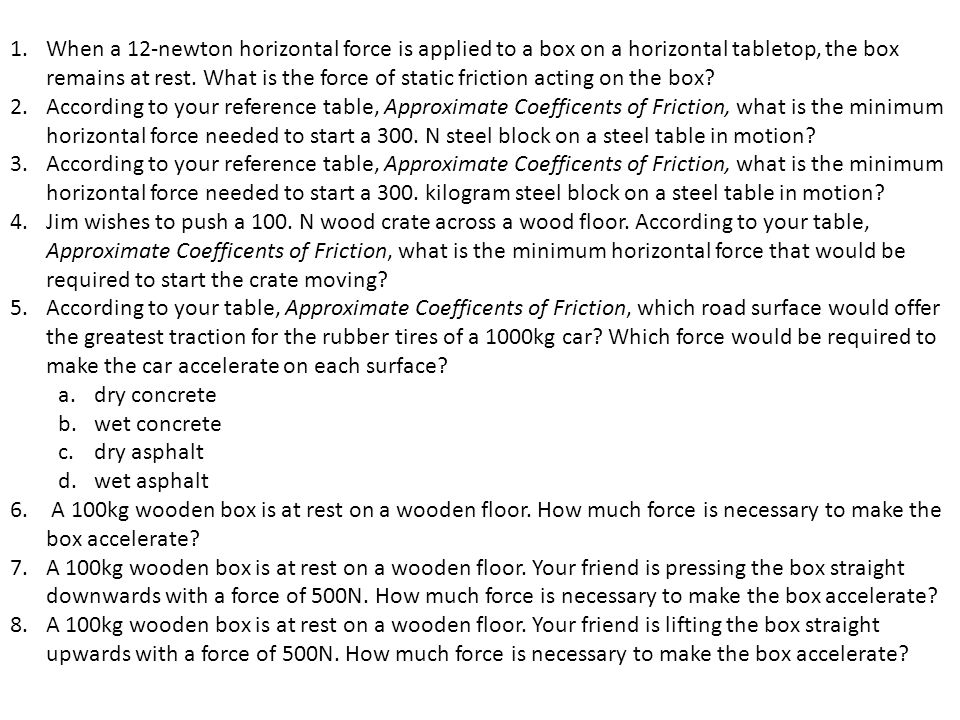 When a 12-newton horizontal force is applied to a box on a horizontal tabletop, the box remains at rest. What is the force of static friction acting on the box