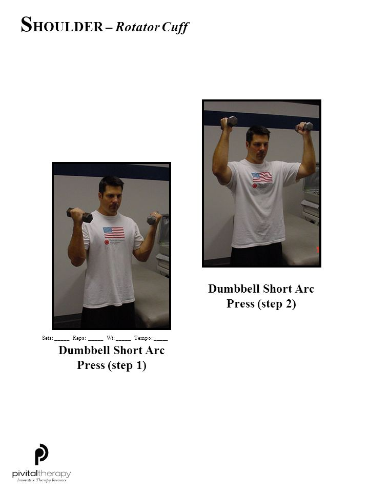 Dumbbell Short Arc Press (step 2) Dumbbell Short Arc Press (step 1)