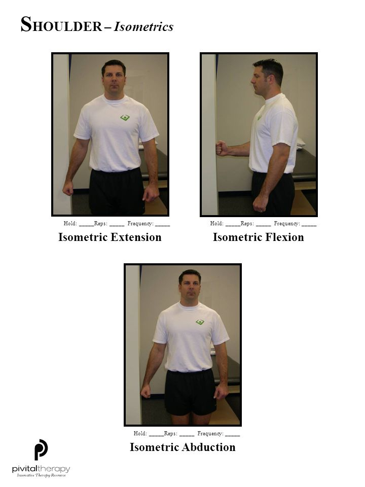 SHOULDER – Isometrics Isometric Extension Isometric Flexion