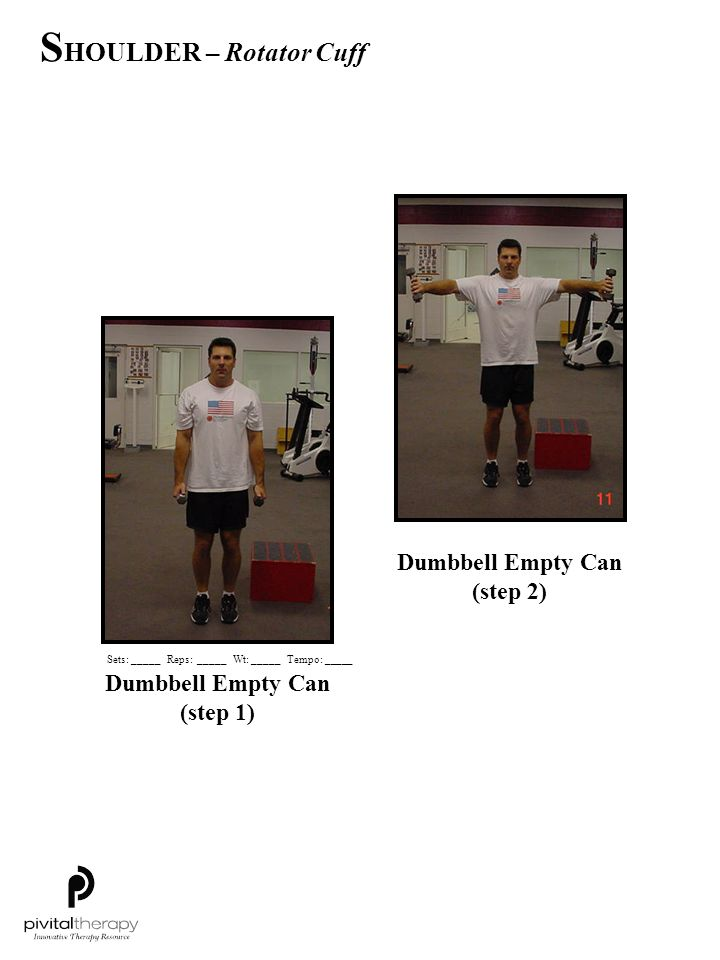 Dumbbell Empty Can (step 2) Dumbbell Empty Can (step 1)